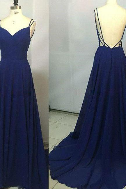 Custom Made Royal Blue Prom Dress,Spaghetti Straps Party Dress,Sleeveless Party Dress,High Quality