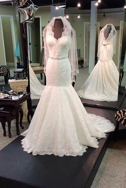 vintage wedding dress,lace wedding dress, v neck dress,mermaid wedding gowns,elegant wedding dress,wedding gowns