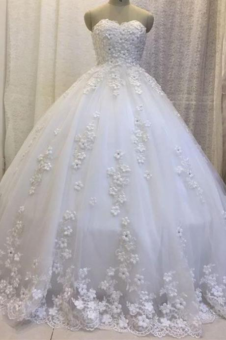 handmade flower wedding dresses ball gown floor length bride dress