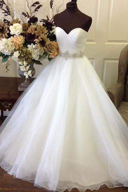 Organza Sweetheart Floor Length Ball Gown Featuring Beaded Embellished Belt