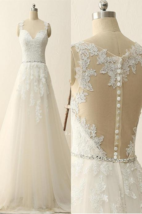 Wedding Dress,Sexy Fashion Sleeveless Lace Top Wedding Dress,Appliques Wedding Gowns,See Though Bridal Dress,High Quality Wedding Dresses,Wedding Guest Prom Gowns, Formal Occasion Dresses,Formal Dress