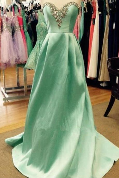 Charming Prom Dress,Sweetheart Prom Dresses,Satin Prom Dress,A-Line Evening Dress