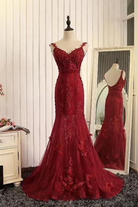 Spaghetti Strap Lace Appliqués Mermaid Long Prom Dress, Evening Dress