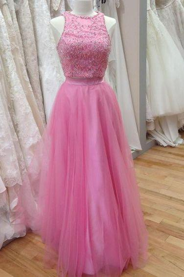 Pink Two-Piece Formal Dress Featuring Beaded Embellished Crew Neck Halter Bodice and Tulle Floor Length A-Line Skirt, Prom Dress