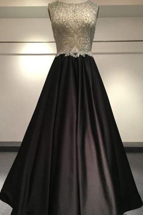 Sleeveless Prom Dress,Sexy Appliques Evening Dress,Long Prom Dresses,Formal Dress