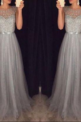 New Arrival Prom Dress, Cap Sleeves Beading Formal Dress, Elegant Beading Tulle Long Dress