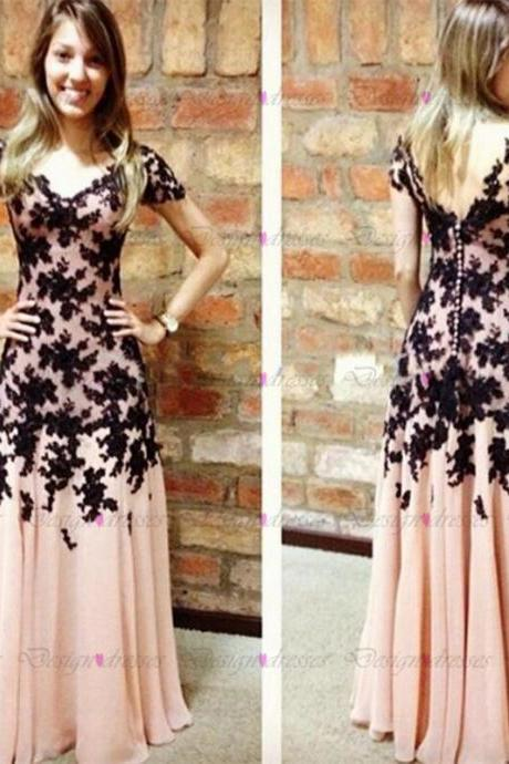 Black Lace Appliqués Pink Chiffon Plunge V Short Sleeves Floor Length A-Line Formal Dress, Prom Dress