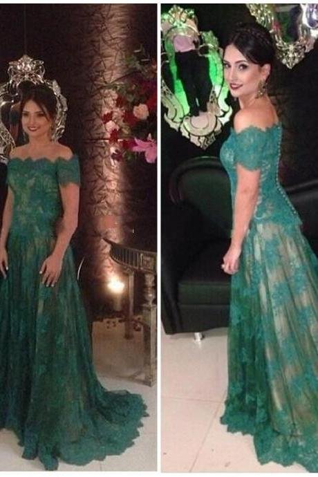 Long Prom Dresses,Lace Prom Dress, Short Sleeves Prom Dress,Lace Formal Gowns,A-line Evening Dresses,Green Prom Dress