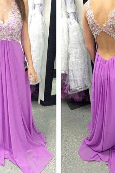 Charming Prom Dress,Chiffon Prom Dresses,Appliques Prom Dress,Backless Evening Dress