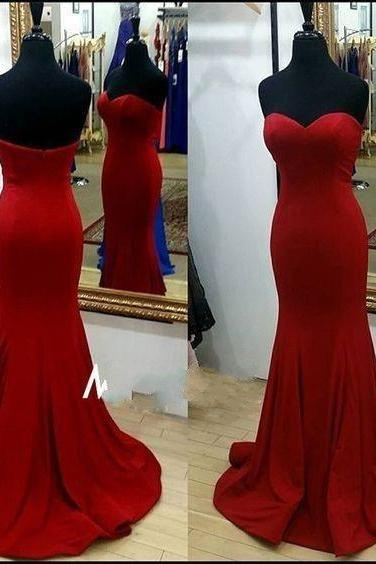 Charming Prom Dresses,Satin Prom Dress,Mermaid Prom Dress,Sweetheart Evening Dress