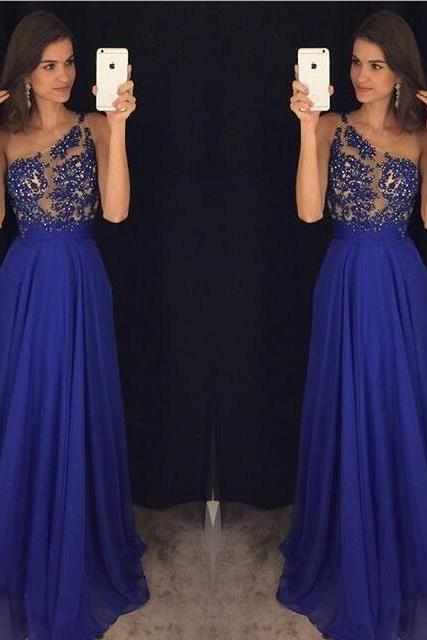 One Shoulder Appliques A-Line Prom Dresses,Long Prom Dresses,Cheap Prom Dresses, Evening Dress Prom Gowns, Formal Women Dress,Prom Dress