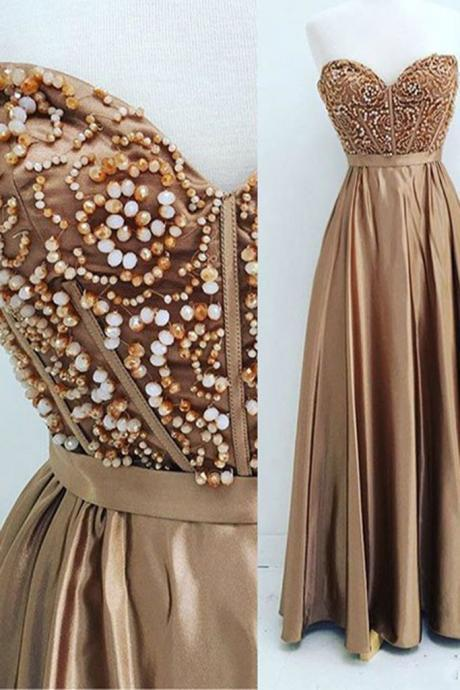 Custom Made Gold Beaded Sweetheart Neckline Satin A-Line Long Evening Dress, Prom Dress, Wedding Dress, Bridesmaid Dresses