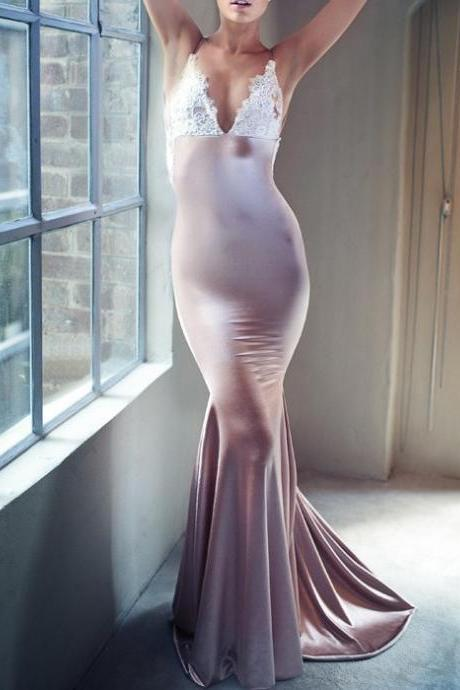 Custom Made White Plunging V-Neckline Lace and Satin Mermaid Long Evening Dress, Prom Dress, Wedding Dress, Bridesmaid Dresses