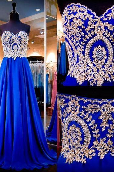 Custom Made Royal Blue Sweetheart Neckline Chiffon A-Line Lace Applique Long Evening Dress, Prom Dress, Wedding Dress, Bridesmaid Dresses