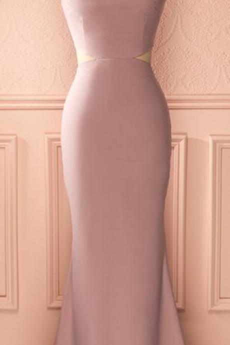 Dusty Pink Bateau Sleeveless Cutout Mermaid Floor-Length Prom Dress, Evening Dress, Formal Dress
