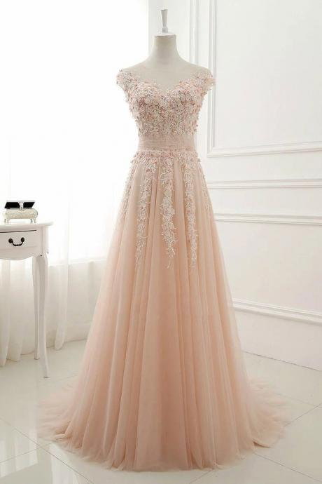 Pink round neck prom dress,lace applique prom dresses,tulle long prom dress, tulle evening dress