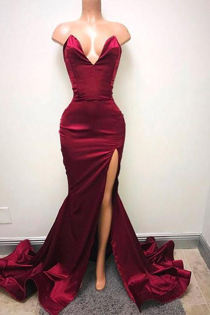 Burgundy Satin Sweetheart Floor Length Mermaid Wedding Guest Dress Featuring Slit and Sweep Train