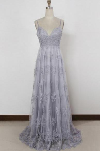 Gray Sleeveless V-Neck A-Line Prom Dress, Evening Dress with Plunging Back