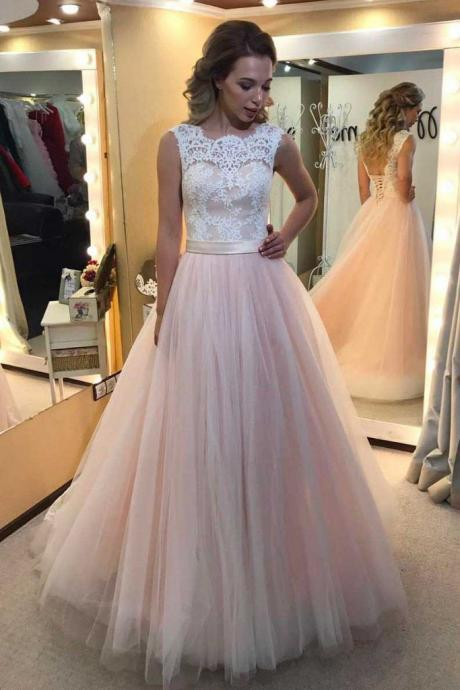 Off White Jewel Neckline Tulle A-Line Prom Dress, Evening Dress, Formal Dress