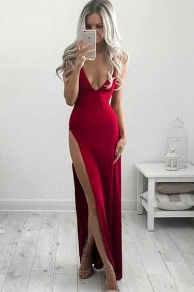Seductive Red Sleeveless Plunging Neckline with High Side Slit Prom Dress, Evening Dress