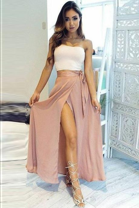 White and Brown 2-Piece with Straight Across Neckline and A-Line High Side Slit Skirt Prom Dress, Evening Dress