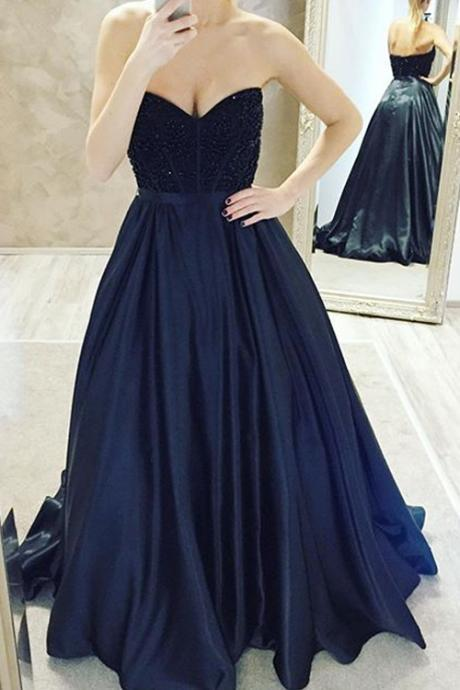 Navy Blue Sweetheart Neckline Empire Prom Dress, Evening Dress, Formal Dress