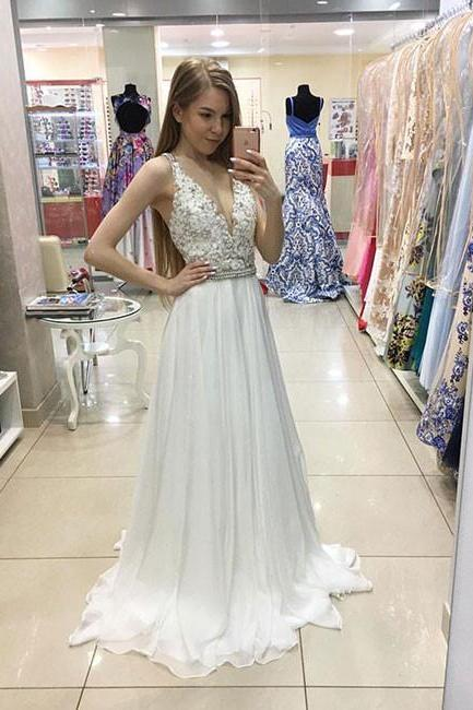 White Sleeveless Sequinned Empire V-Neck Prom Dress, Evening Dress, Wedding Dress