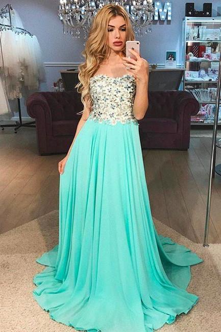 Pastel Green Sleeveless A-Line Chiffon Prom Dress, Evening Dress