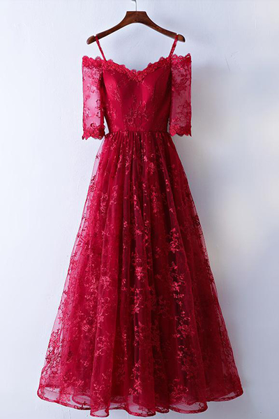 Red Off The Shoulder Half Sleeve Lace A-Line Prom Dress, Evening Dress, Formal Dress