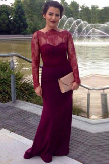 Burgundy Mermaid Prom Dress,Button Back Prom Dresses, With Long Lace Sleeves Prom Dress