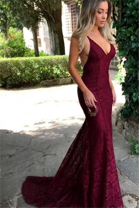 Burgundy Lace Prom Evening Dress,Spaghetti Strap Prom Dress,Long Evening Dress, Prom Dresses, Amazing Lace Maroon Prom Dress,Sexy Party Dress,Formal Dress,New Style Dress