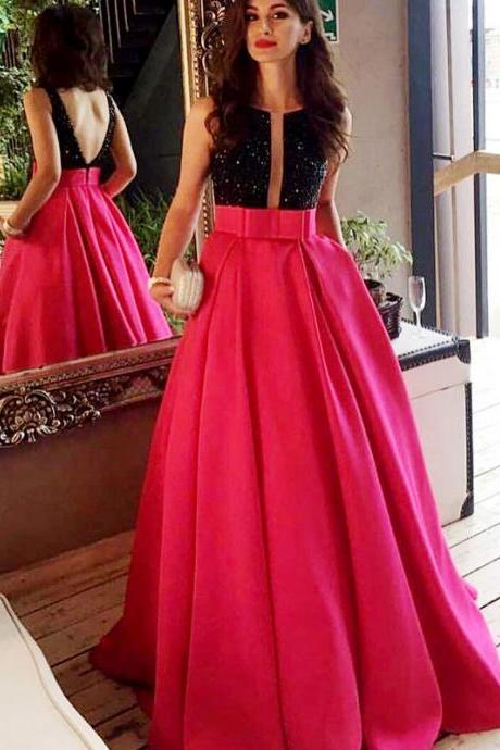 Beauty Prom Dress,Prom Dress,Boat Neck Deep V Open Back Prom Dress,Two Tone Abendkleider Party Dress,Formal Dress,A-Line Prom Dress,Long Prom Party Dress,Charming Evening Dress,