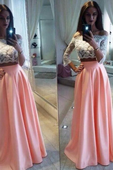 Elegant Lace Two Pieces Formal Dress, Cheap A-Line Prom Dresses,Off The Shoulder Pink Prom Dress,Long Party Dress,Prom Dress,