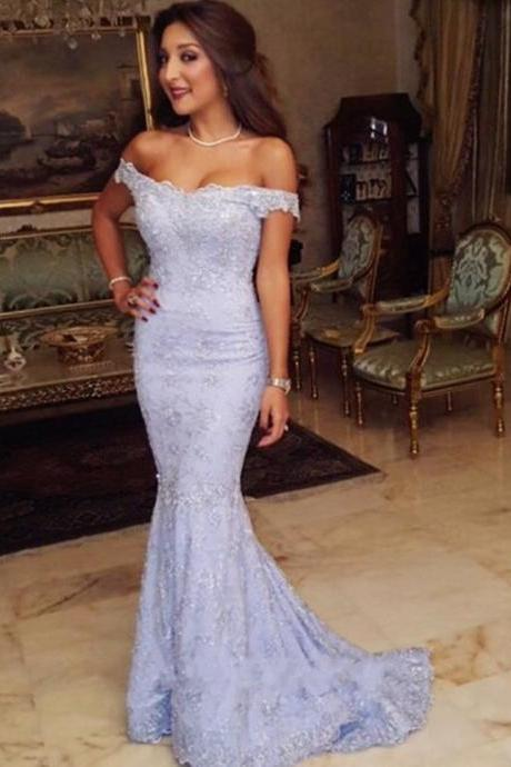 Lavendar Off The Shoulder Beaded Lace Mermaid Prom Dress, Evening Dress, Bridesmaid Dress