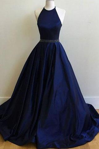 Navy Blue Satin Halter Ball Gown Prom Dress, Evening Dress
