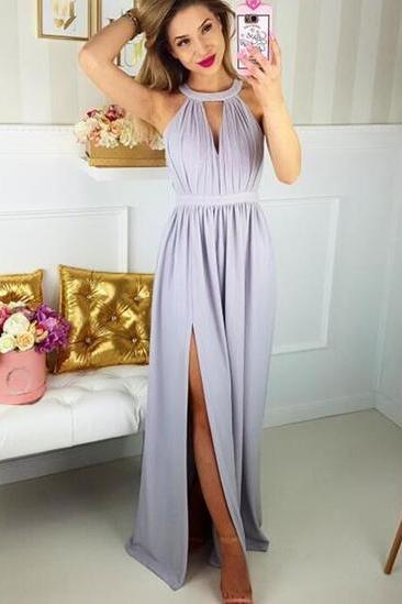 Lavendar Halter Neck A-Line Chiffon Prom Dress, Evening Dress with Side Slit