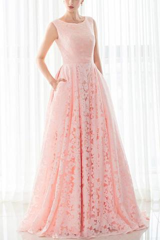 Pink Boat Neck Lace A-Line Prom Dress, Evening Dress, Formal Dress
