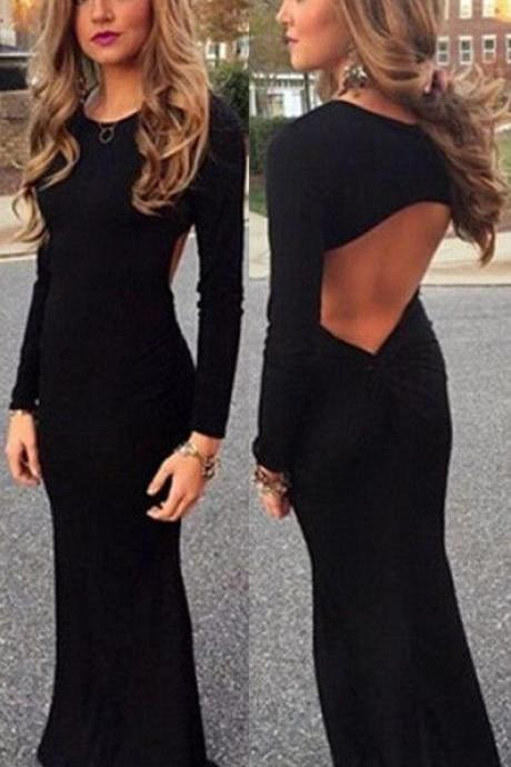 New Black Spandex Prom Dress Sexy Backless Long Prom Dresses Elegant Full Sleeve Scoop Mermaid Prom Dress Sexy Black Evening Formal Gowns Long Sleeves Party Dress