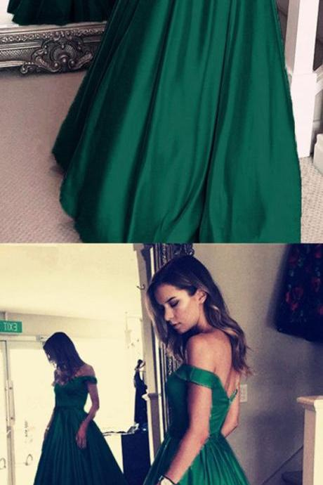Dark Green Satin Prom Dress,V-neck Prom Long Dresses,Off Shoulder Evening Gowns,Beaded Sashes Prom Dresses