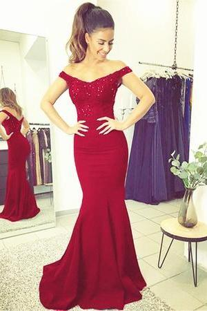 Custom Made Red Off Shoulder Beaded Long Mermaid Evening Dress, Prom Dress, Wedding Dress, Bridesmaid Dresses