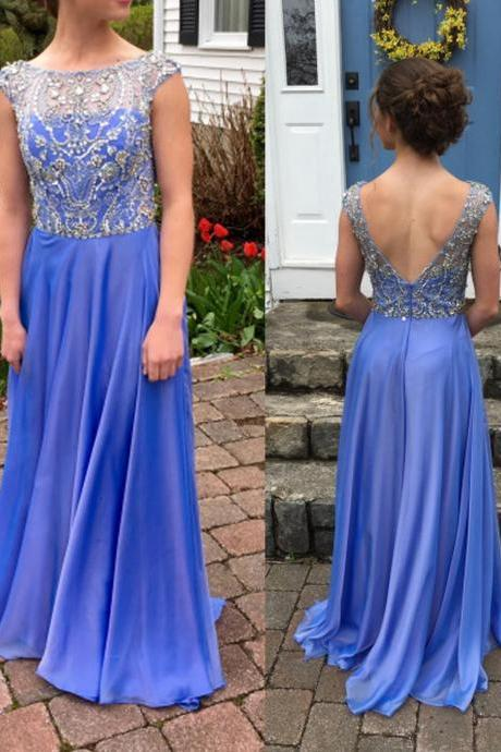 Charming Prom Dress,Chiffon Prom Dresses,Beading Prom Dress,A-Line Evening Dress
