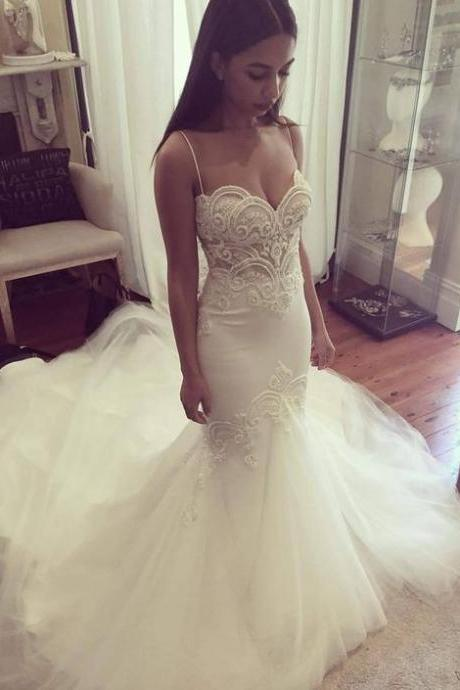 New Spaghetti Straps Sweetheart Lace Peals Mermaid Wedding Dresses Long Train Bridal Gowns