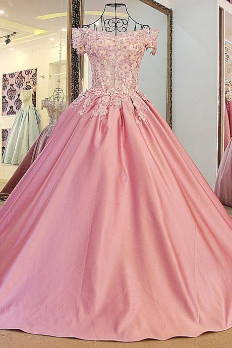 Peach satins lace wedding dress, off-shoulder A-line applique wedding dresses, long ball gown dress,princess bridal dresses