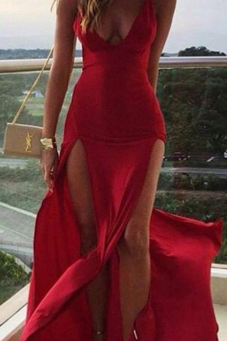 Deep V Neck Prom Dress,Split Prom Dress,Bodycon Maxi Prom Dress,Fashion Prom Dress,Sexy Party Dress, New Evening Dress