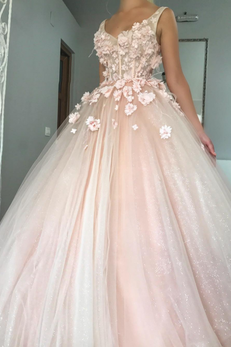 Sleeveless Wedding Dress,Illusion Neckline Ball Gown Wedding Dresses, Tulle Long Wedding Dress, Bridal Dress with Floral Appliques