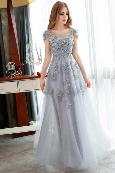 Pretty Grey Applique And Beading Prom dress, tulle Evening Dresses,Handmade A-Line Prom dresses,Formal Women Prom dress Party dress