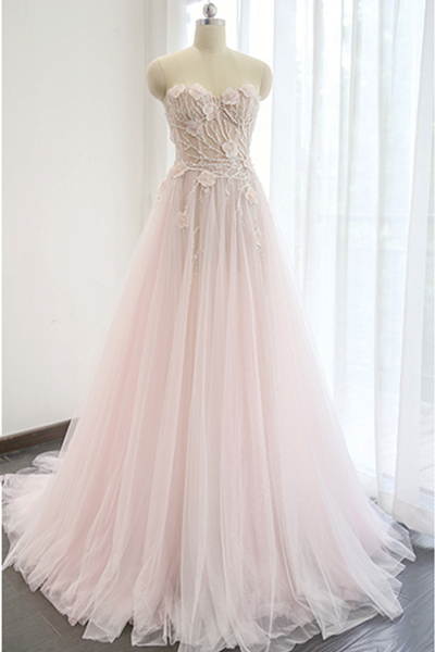 Pink Floral Lace Appliqués Wedding Dress,Sweetheart Floor Length Wedding Dresses, Tulle Bridal Gown Featuring Train
