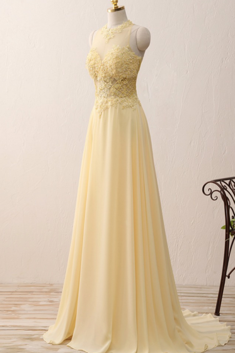 Yellow Chiffon Lace Prom Dress,Appliques A Line rom Dresses,Long Evening Dresses Zipper-Up