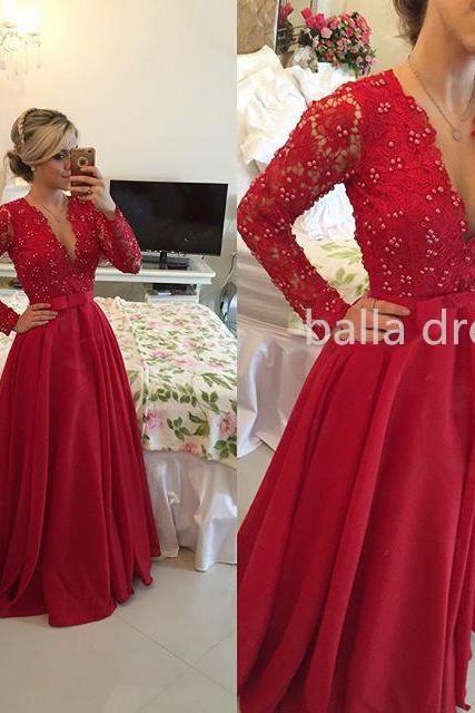 Prom Dress,Sexy Prom Dress,Dee V-Neck Prom Dress,Full Sleeve Prom Dress, Red Prom Dress,Prom Dress,Prom Gown,Long Prom Dress,Beaded Prom Dress