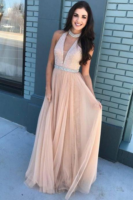 Fashion A-Line High Neck Sleeveless Long Prom/Evening Dress With Beading